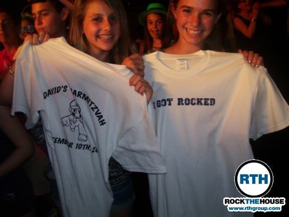 girls got custom shirts from djs at bar mitzvah