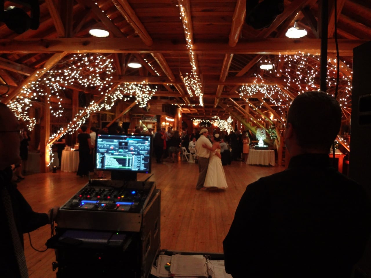 wedding event lighting with monogram gobo and entertainment from cleveland djs